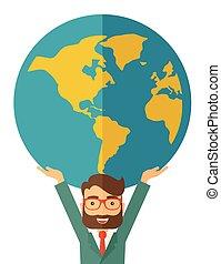 商人, 運載, globe., 大