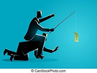 商人, 騎馬, 給, 另一個, 背, 誘餌, 錢, 或者, 雇員