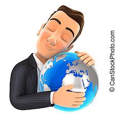 商人, 3d, 擁抱, 地球