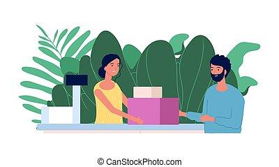 商店, 人, concept., 購物, cashier., 插圖, 做, 套間, 購買, 顧客, 微笑的 女孩, checkout., 出納員, 矢量