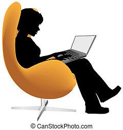 商店, 婦女, 膝上型, 工作, 電腦, 椅子, 坐