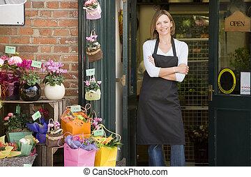 商店, 婦女, 花, 微笑, 工作