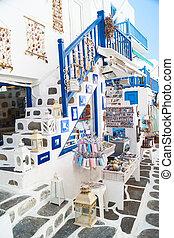 商店, 島, touristic, 圖像, mykonos, 細節, 希臘語, 希臘
