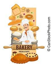 商店, 廚師, 小圓甜面包, 旗幟, 麵包房, bread, 矢量