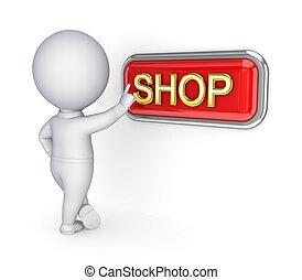 商店, 推, button., 人, 3d, 小