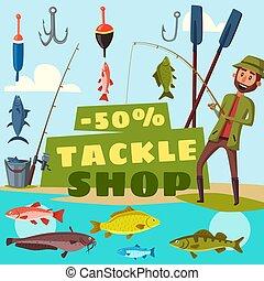 商店, 矢量, 釣魚, 滑車, 卡通