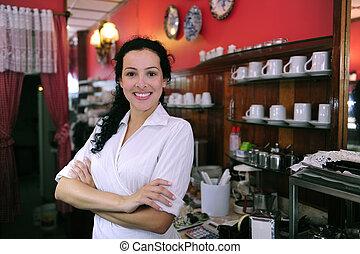 商店, 驕傲, 充滿信心, 糕點, cafe/, 所有者