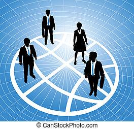 商業界人士, 全球, 柵格, 站, 符號