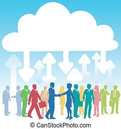 商業界人士, 公司, 計算, 它, 雲
