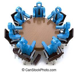 商業界人士, -, 後面, 會議, 桌子, 會議, 輪, 3d