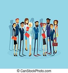 商業界人士, 組, businesspeople, 套間, 隊