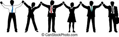 商業界人士, 隊, 向上, 手, 線, 握住