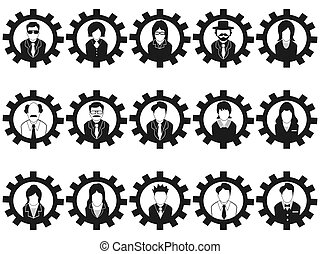 商業界人士, avatar, 齒輪, 圖象