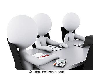 商業辦公室, 人們, room., 會議, 3d