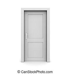 單個, 門, 灰色, 關閉