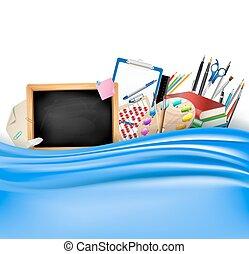單子, 顏色鋼筆, 調色板, 統治者, 黑板, 藝術, 邊框, 矢量, 學校, curtain., 書, 柔軟光滑, 很少, 水平, 藍色, 鉛筆, 背景, 堆, notepad