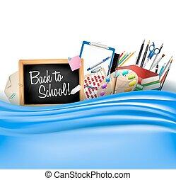 單子, 顏色鋼筆, 調色板, 背, 統治者, 黑板, 藝術, 邊框, 矢量, 學校, curtain., 書, 柔軟光滑, 很少, 水平, 鉛筆, 背景, 堆, notepad