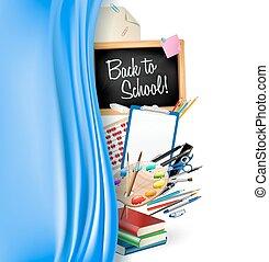 單子, 顏色鋼筆, 調色板, 背, 統治者, 黑板, 藝術, 邊框, 矢量, 學校, curtain., 書, 柔軟光滑, 很少, 鉛筆, 背景, 堆, notepad