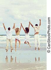 四人, 年輕, 兩對夫婦, 跳躍, 海灘, 慶祝