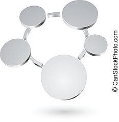圈子, 摘要, 金屬, 圖形, 空白, 3d