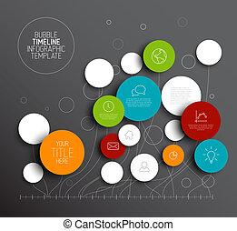 圈子, 矢量, 摘要, 黑暗, infographic, 樣板