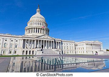 國家, 團結, 易碎, 州議會大廈, autumn., 早晨, 后來, 有風