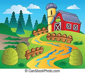 國家, 穀倉, 場景, 紅色, 4