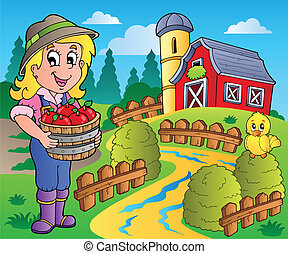 國家, 穀倉, 場景, 7, 紅色