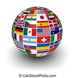 國際, 全球, 旗, 世界