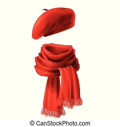 圍巾, 矢量, 現實, 貝雷帽, 紅色, 3d