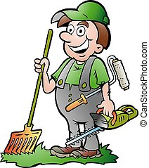 園丁, 插圖, 卡通, 矢量, 愉快