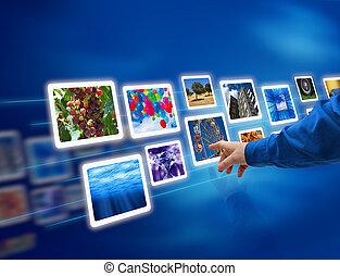 圖像, 流動, 選擇, 手
