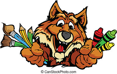圖像, 狐狸, 矢量, 吉祥人, 卡通, 幼儿園, 愉快