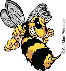 圖像, 矢量, 卡通, 大黃蜂, 蜜蜂