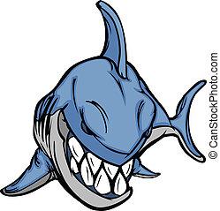 圖像, 矢量, 吉祥人, 卡通, 鯊魚