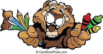 圖像, 美洲獅, 矢量, 吉祥人, 卡通, 幼儿園, 愉快