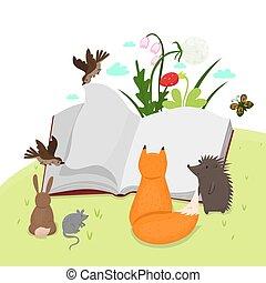 圖像, book., 動物, 閱讀, 矢量