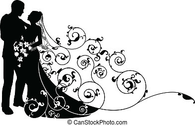 圖案, 新郎, 黑色半面畫像, 背景, 新娘