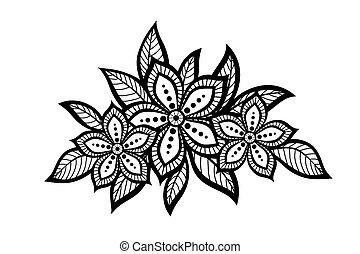 圖案, 植物, 美麗, 老, 元素, 設計, style.