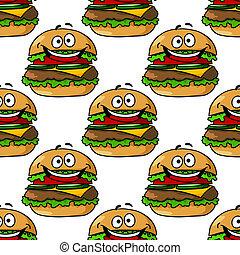 圖案, 漢堡包, 卡通, seamless