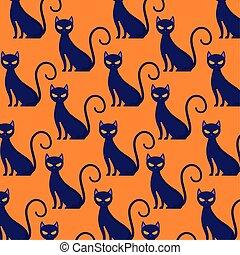 圖案, 貓, 万圣節, 黑色