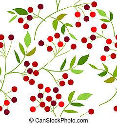 圖案, 離開, seamless, 綠色, 漿果, 紅色