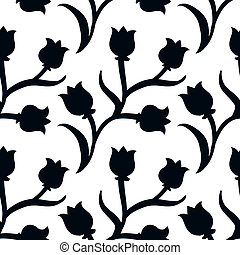 圖案, 黑色, 鬱金香, 植物, ditsy, 白色