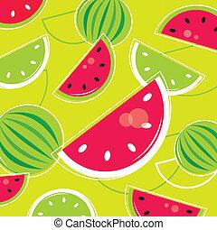 圖案, /, retro, 新鮮, 瓜, 背景, 夏天, -, 綠色, 粉紅色