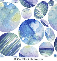 圖案, shapes., 水彩, 幾何學, 背景, 空間, 鮮艷, 矢量, seamless, planets., 摘要