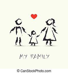 圖畫, 我, 孩子, 家庭, 愉快