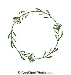 圖畫, 植物, style., 花, 時髦, 邊框, 花冠, 外形, 離開, twigs., 祝賀, 花, scrapbooking, frame., 裝飾, 簡單, circle., 輪, 漂亮, 最簡單派藝術家