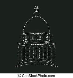 圖表, 州議會大廈, 國會, 粉筆, 矢量, design.