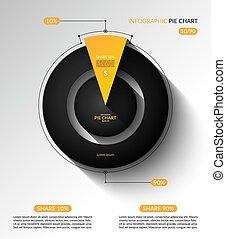 圖表, 插圖, template., percent., 餅, infographic, 矢量, 分享, 10, 90