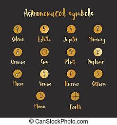 圖表, 集合, elements., 心不在焉地亂寫亂畫, symbols., 設計, 占星術, 占星術